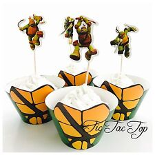 🐢12 Ninja Turtle Cupcake Wrapper Topper. Party Supplies Loot Lolly Bag TMNT