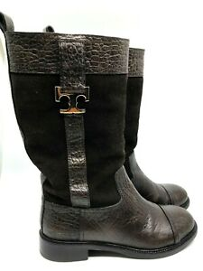 Tory Burch Corey Brown Suede & Leather Mid-Calf Boots Rubber Soles Size 8M
