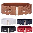 Retro Women Stretch Buckle Waist Belt Wide PU Leather Elastic Waistband S M L XL