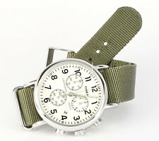 Timex TW2P71400 Weekender Chronograph, Off White Green Nylon Strap Men's Watch