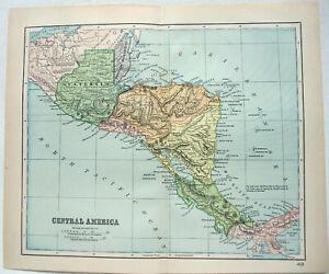 Original 1893 Map of Central America by Dodd Mead & Company