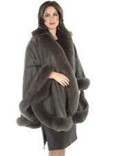 Plus Size Cashmere Cape Shawl Wrap with Fox Fur Trim Charcoal Gray