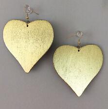 Natural Wood Heart Shape Dangle Earrings, Gold color Paint