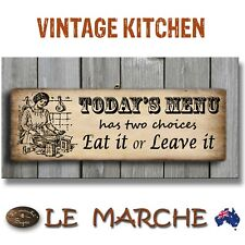 """KITCHEN Vintage """"Today's Menu"""" Wooden Rustic Plaque / Sign (FREE POST)"""