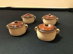 """Set (4) Brown's Pottery Arden, NC Covered Soup Casserole 2 1/2"""" x 5 1/2"""""""