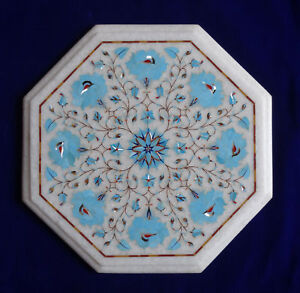 """12"""" white Marble corner end Table top semi precious stones turquoise inlay art"""