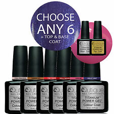 QUTIQUE Gel Nail Polish Pack UV/LED -ANY 6 Colours inc Base & Top Coat