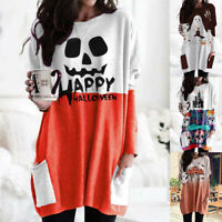 Womens Long Sleeve Baggy Pullover Ladies Jumper Loose Tunic Shirt Tops Halloween