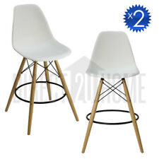 2x GENEVE WHITE Retro Replica Eames DSW Bar Stools Armchair Kitchen Wooden Legs