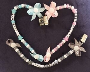 *Buy 2 get 1 Free* Personalised Dummy Clip 🤗chose Pink, Blue Or Grey