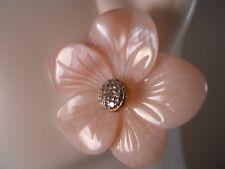 BIG MOTHER OF PEARL FLOWER ROSE PLUMERIA POST STUD JACKET ENHANCER EARRINGS