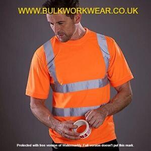 Hi Vis Viz Visibility Orange Crew T-Shirt Short Sleeve Safety Workwear Top EN471