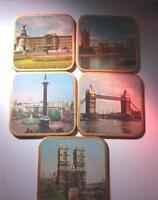 Win-El-Ware Vintage Souvenir Coasters & Box Made in England Collectible