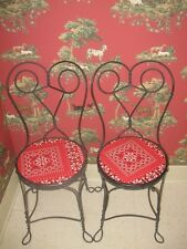 Antique styIe Cream Chairs Parlor Black Vintage Metal  Look Likes Wrought Iron