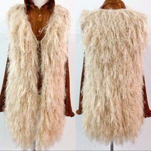 Lapis Fringe Fuzzy Knit Beige Long Penny Lane Sweater Vest, Women's Size XL