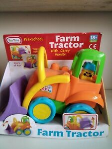 Pre School Farm Orange Tractor With Carry Handle Toy Gift Present