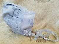 Vintage Doll Bonnet Embroidered Silk Blue Floral Ribbon Frilly Teddy Bear A42