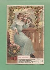 ROMANTIC COUPLE On Beautifully Embossed Vintage 1906 GERMAN-MADE Postcard