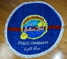 Dolce Gabbana Light Blue Italian Zest Round Beach Towel Fringe