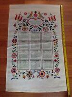 Vintage Kitchen Tea Towel ~ Danish Sampler ~ 1989 Calendar