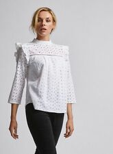 Dorothy Perkins Womens White Broderie Top Blouse Casual