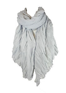 Ladies Womens Crinkle Scarf Cover Up Stole Soft Warm Lightweight - Light Silver