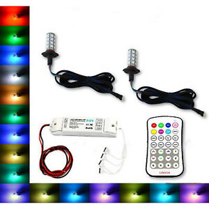 9005 27 SMD RGB Multi-Color Changing Shift Led Fog DRL Light Bulb M7 Pair