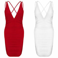 New Plunge V Neck Strappy Ruched Detail Slinky Stretch Bodycon Party Dress
