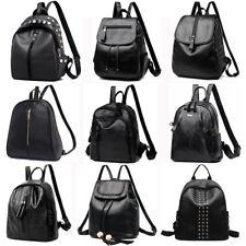 Women Girl PU Leather Backpack Travel Shoulder School Bag Satchel Rucksack Black