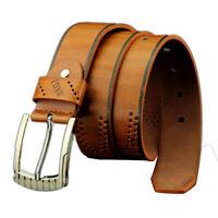 Men Leather Business Waistband Pin Buckle Belt Casual Fashion Retro Hollow Belt%