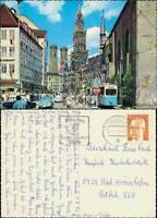 Ansichtskarte München Rathaus Verkehr mit Tram, Autos u.a. VW Käfer 1976