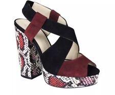 WITTNER Snake Print  Leather Platform Block Heels Sandal Multicoloured Wedge 37