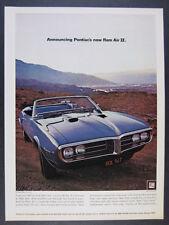 1968 Pontiac Firebird Ram Air II Convertible blue car photo vintage print Ad