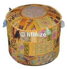 2 PCs Embroidered Pouffe Vintage Pouf Cover Ottoman Bean Bag Floor Footstool