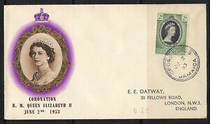 UK  Jamaica  Old FDC Cover Elizabeth II Coronation 1953