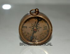 """ANTIQUE VINTAGE BRASS 1"""" KEYCHAN COMPASS IN COFFEE ANTIQUE COLLECTIBLE GIFT"""
