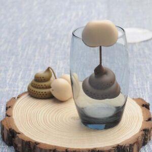 Poo Turd Shape Silicone Tea Strainer Filter Infuser Prank Trick Prop Drink h3