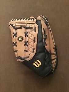 "Wilson A360 14"" Softball Glove Split Hinge Leather Black Brown Right Hand Throw"