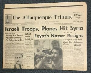 Six Day War - Israel - June 9, 1967 Albuquerque, New Mexico Newspaper