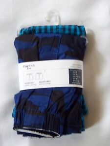 GapKids Boy's 2 Pairs Boxers Sizes S, M Blue/Check 100% Cotton