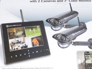 "Bunker Hill 4 Channel Wireless Surveillance System 62368 2 Camera 7"" Monitor"