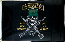 "3'x'5' Nylon U.S. Army Ranger Flag - ""Mess with the Best"" Skull & Crossed Gun"