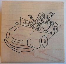 Girls in auto convertibile Rubber Stamp-legno montato