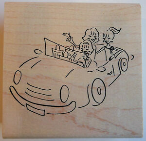 Girls in Convertible Car Rubber Stamp - Wood Mounted