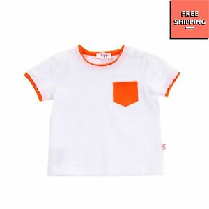IL GUFO Baby T-Shirt Top Size 6M Colour Block Two Tone Logo Made in Italy