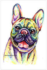 More details for french bulldog frenchie art print painting gift bull dog - size, mounting option