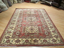 7x9 Kazak Geometric Caucasian Vegetable Dye Handmade-knotted Wool Rug 582170