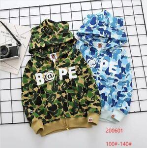 Bape jacket sweatshirts outfit baby milo camouflage bathing ape kid child cloth