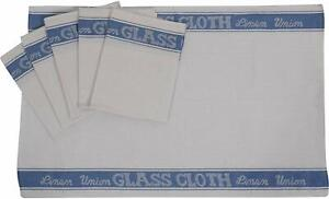 Genuine 2 x Linen Union Glass Cloth In Blue Cotton/Linen Towels