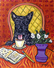 scottish terrier dog coffee signed art print animals impressionism 13x19